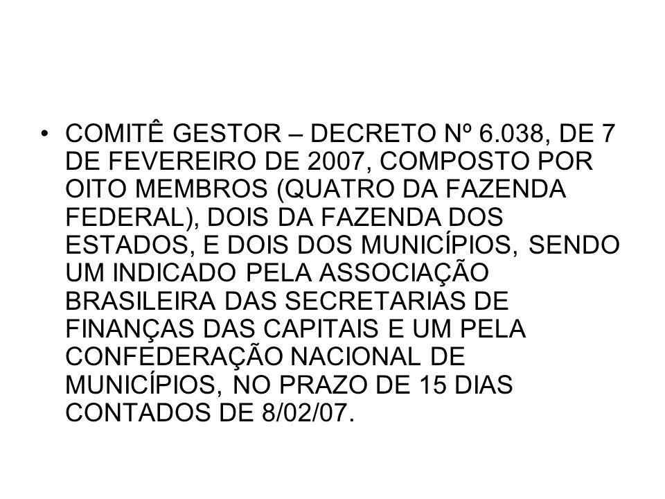 COMITÊ GESTOR – DECRETO Nº 6