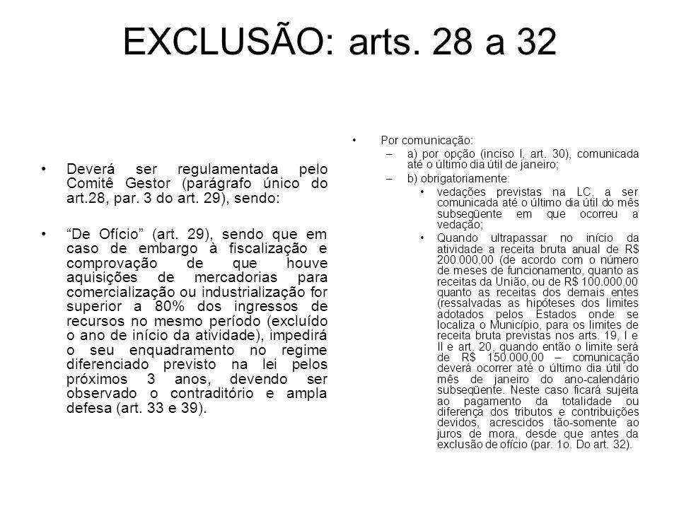 EXCLUSÃO: arts. 28 a 32 Deverá ser regulamentada pelo Comitê Gestor (parágrafo único do art.28, par. 3 do art. 29), sendo: