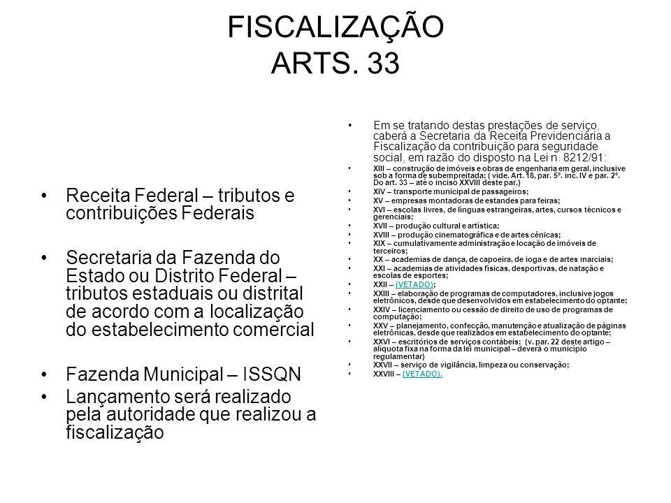 FISCALIZAÇÃO ARTS. 33 Receita Federal – tributos e contribuições Federais.