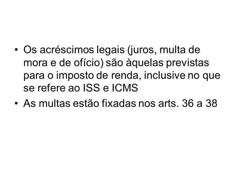 Os acréscimos legais (juros, multa de mora e de ofício) são àquelas previstas para o imposto de renda, inclusive no que se refere ao ISS e ICMS