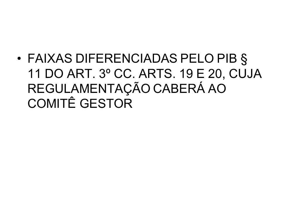 FAIXAS DIFERENCIADAS PELO PIB § 11 DO ART. 3º CC. ARTS