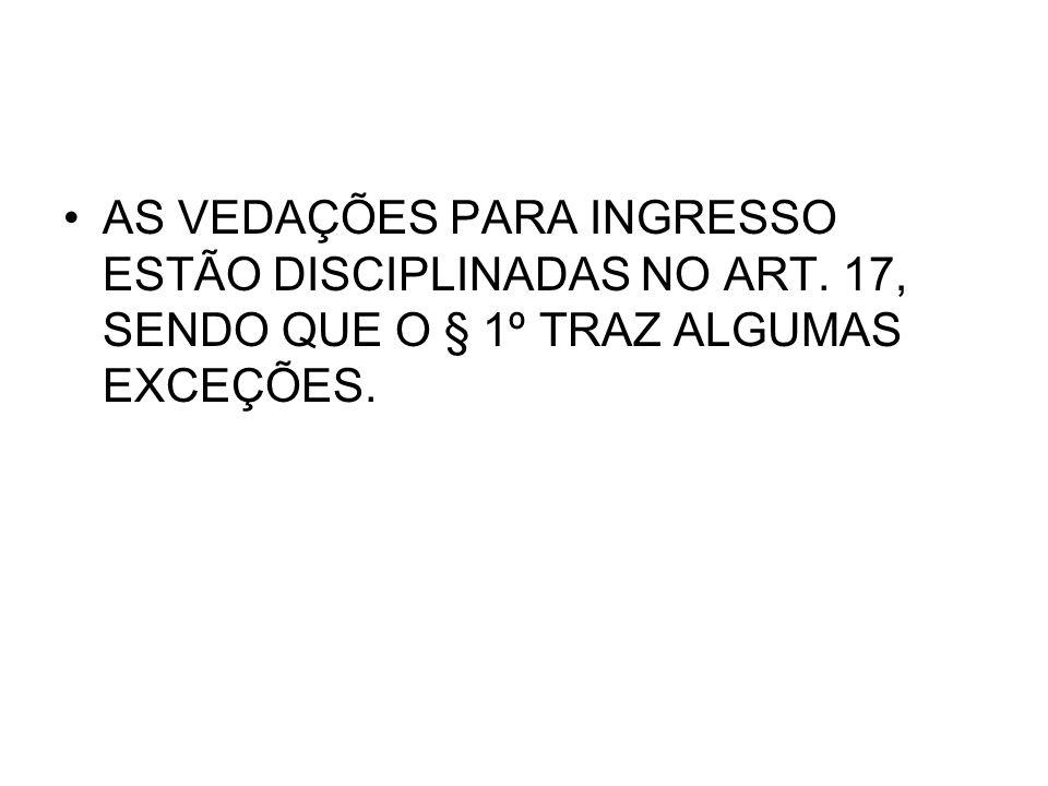 AS VEDAÇÕES PARA INGRESSO ESTÃO DISCIPLINADAS NO ART