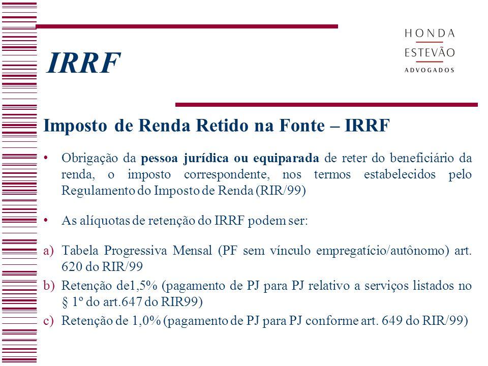 IRRF Imposto de Renda Retido na Fonte – IRRF