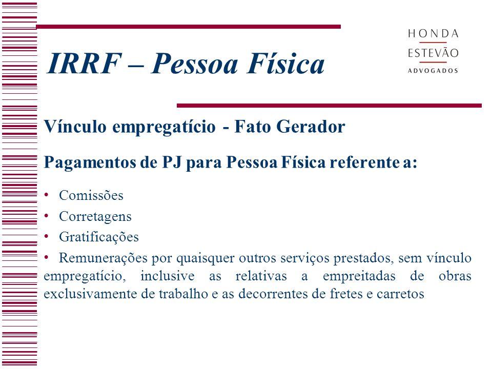 IRRF – Pessoa Física Vínculo empregatício - Fato Gerador