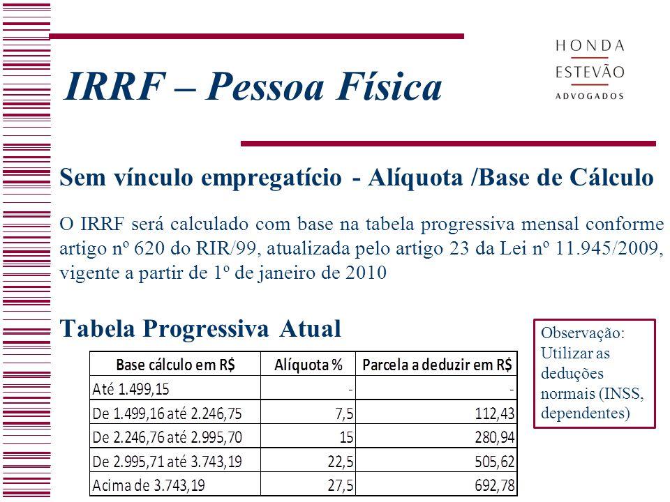 IRRF – Pessoa Física Sem vínculo empregatício - Alíquota /Base de Cálculo.