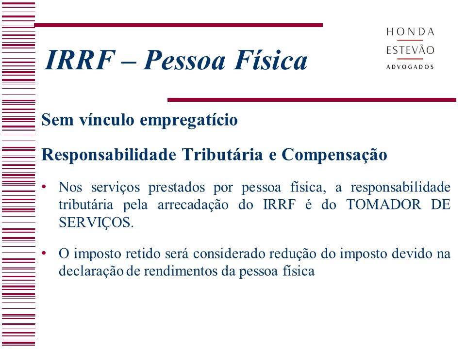 IRRF – Pessoa Física Sem vínculo empregatício