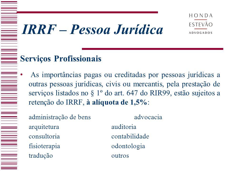IRRF – Pessoa Jurídica Serviços Profissionais