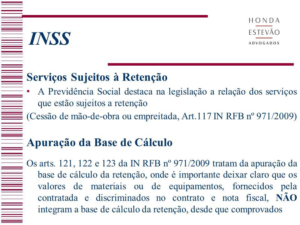 INSS Serviços Sujeitos à Retenção Apuração da Base de Cálculo