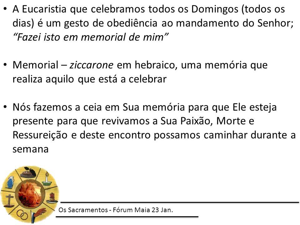 A Eucaristia que celebramos todos os Domingos (todos os dias) é um gesto de obediência ao mandamento do Senhor; Fazei isto em memorial de mim