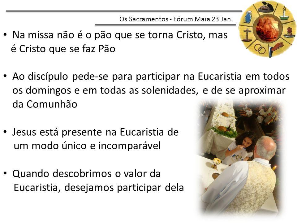 Na missa não é o pão que se torna Cristo, mas é Cristo que se faz Pão