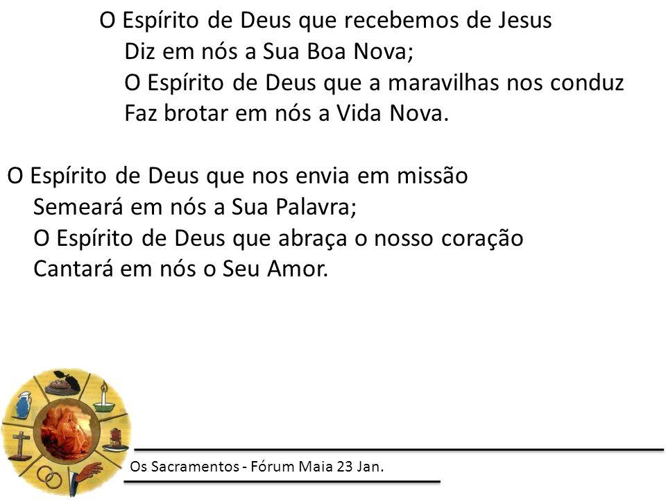 O Espírito de Deus que recebemos de Jesus Diz em nós a Sua Boa Nova;