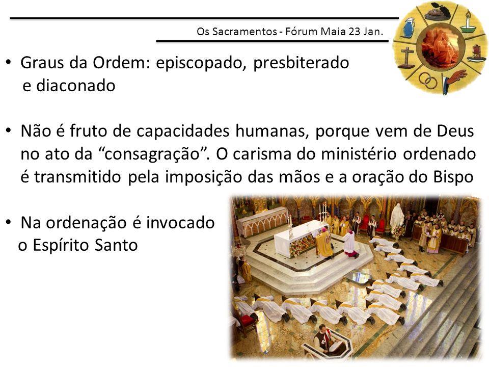 Graus da Ordem: episcopado, presbiterado e diaconado
