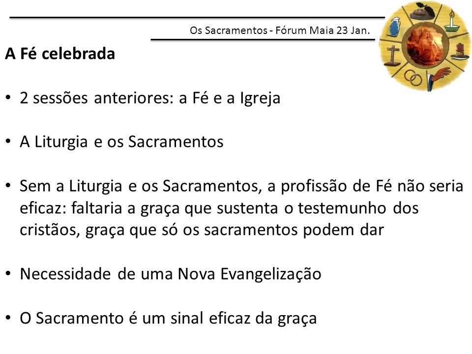 2 sessões anteriores: a Fé e a Igreja A Liturgia e os Sacramentos
