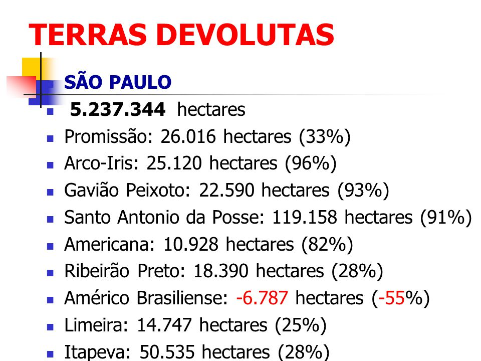 TERRAS DEVOLUTAS SÃO PAULO 5.237.344 hectares