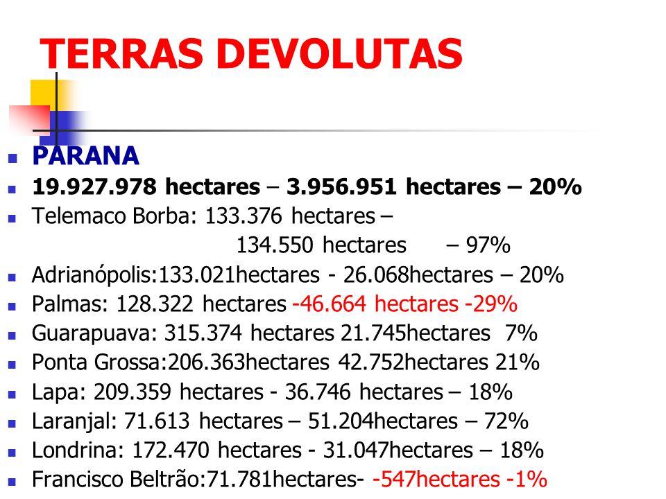 TERRAS DEVOLUTAS PARANA 19.927.978 hectares – 3.956.951 hectares – 20%
