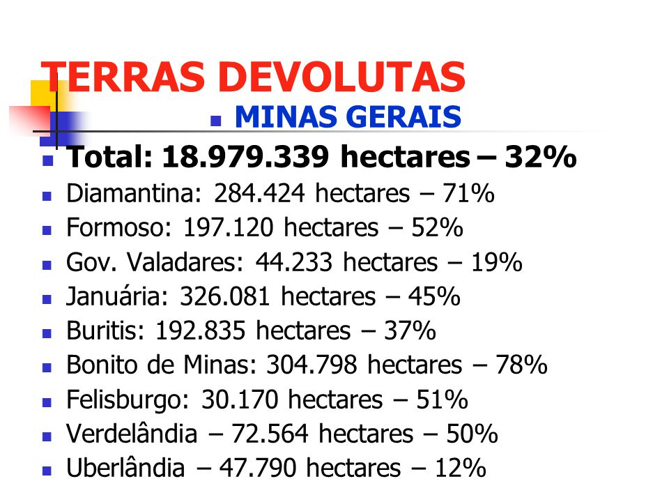 TERRAS DEVOLUTAS MINAS GERAIS Total: 18.979.339 hectares – 32%