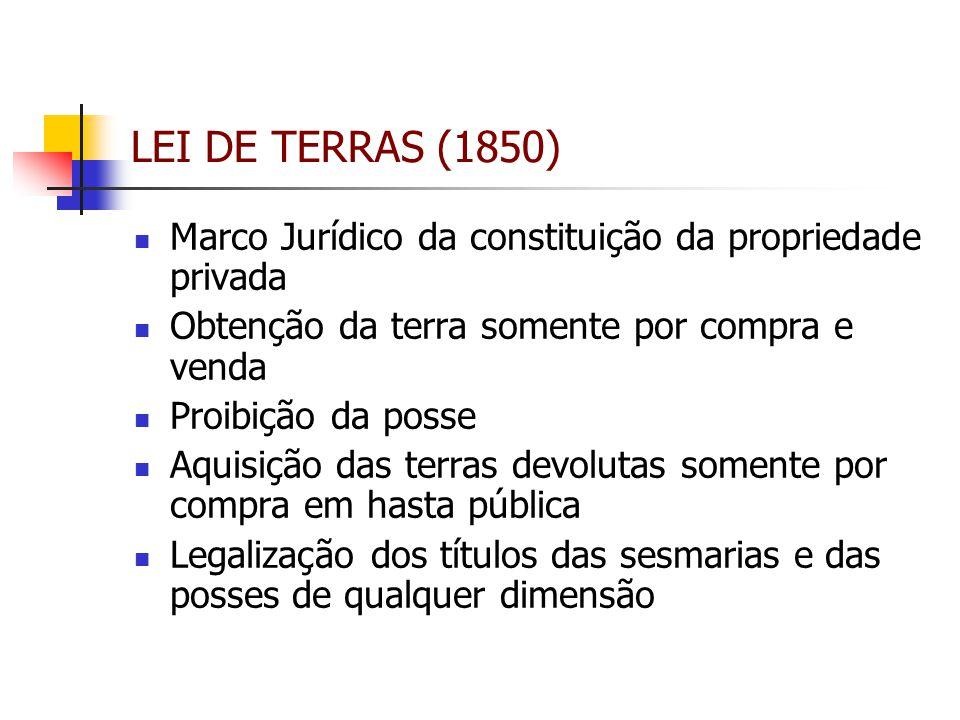 LEI DE TERRAS (1850) Marco Jurídico da constituição da propriedade privada. Obtenção da terra somente por compra e venda.