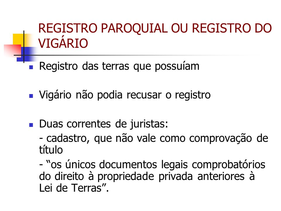 REGISTRO PAROQUIAL OU REGISTRO DO VIGÁRIO