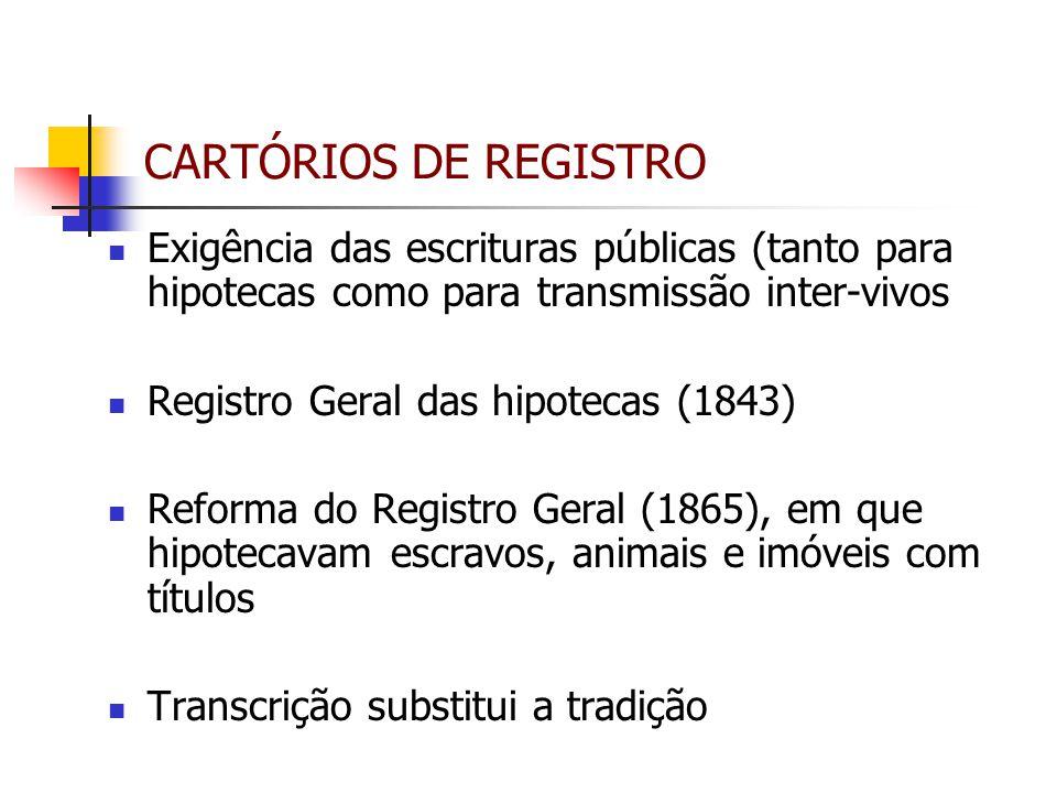 CARTÓRIOS DE REGISTRO Exigência das escrituras públicas (tanto para hipotecas como para transmissão inter-vivos.