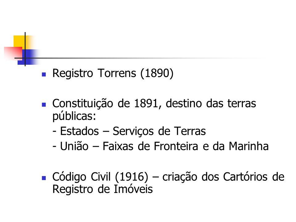 Registro Torrens (1890) Constituição de 1891, destino das terras públicas: - Estados – Serviços de Terras.