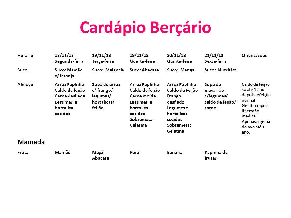 Cardápio Berçário Mamada Horário 18/11/13 Segunda-feira