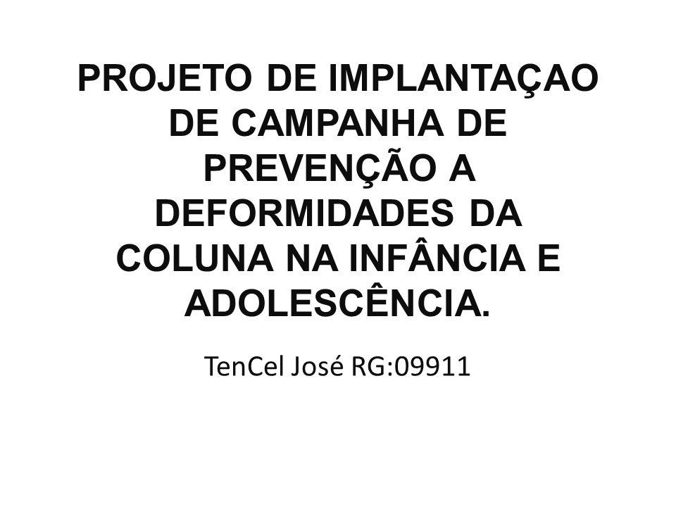 PROJETO DE IMPLANTAÇAO DE CAMPANHA DE PREVENÇÃO A DEFORMIDADES DA COLUNA NA INFÂNCIA E ADOLESCÊNCIA.