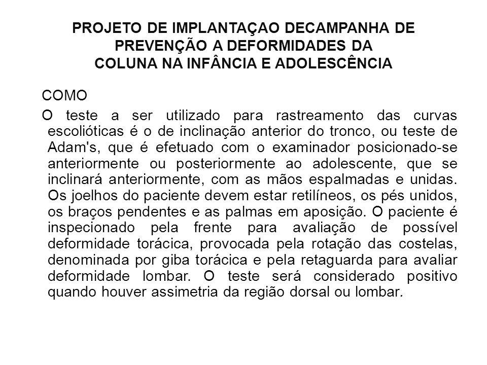 PROJETO DE IMPLANTAÇAO DECAMPANHA DE PREVENÇÃO A DEFORMIDADES DA COLUNA NA INFÂNCIA E ADOLESCÊNCIA