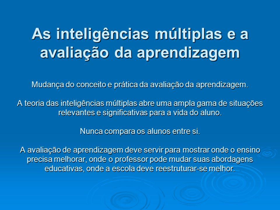 As inteligências múltiplas e a avaliação da aprendizagem Mudança do conceito e prática da avaliação da aprendizagem.