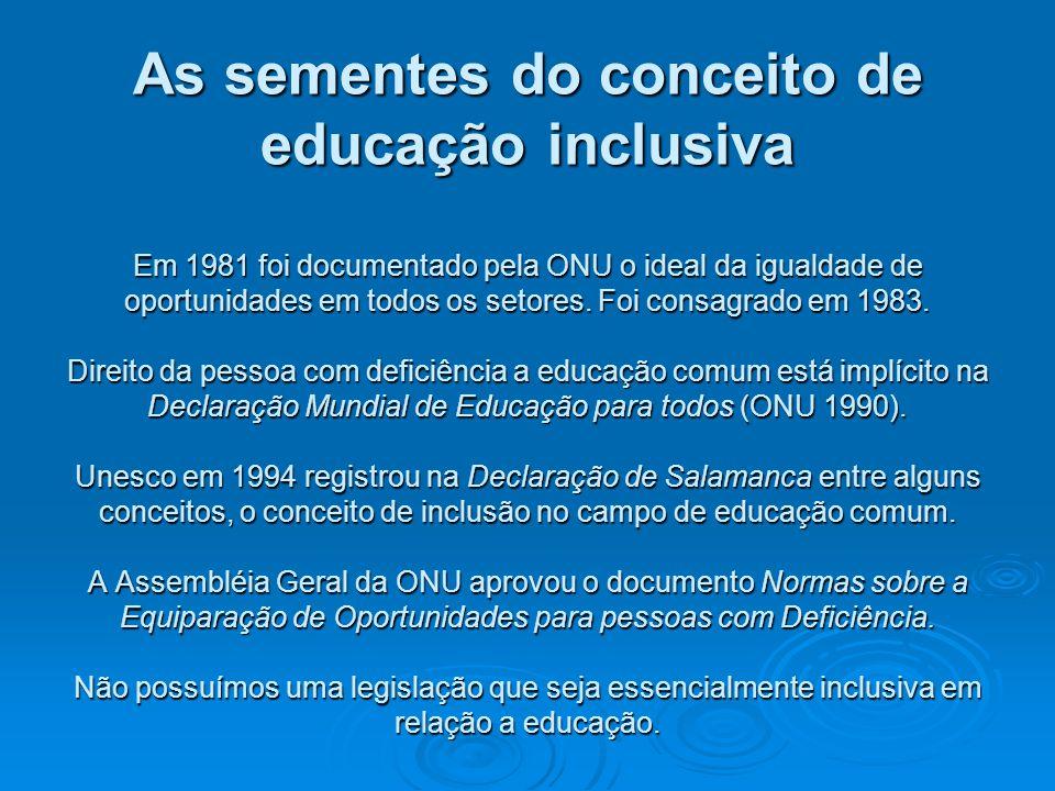 As sementes do conceito de educação inclusiva Em 1981 foi documentado pela ONU o ideal da igualdade de oportunidades em todos os setores.