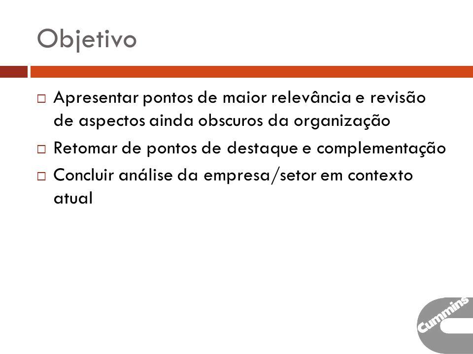 Objetivo Apresentar pontos de maior relevância e revisão de aspectos ainda obscuros da organização.