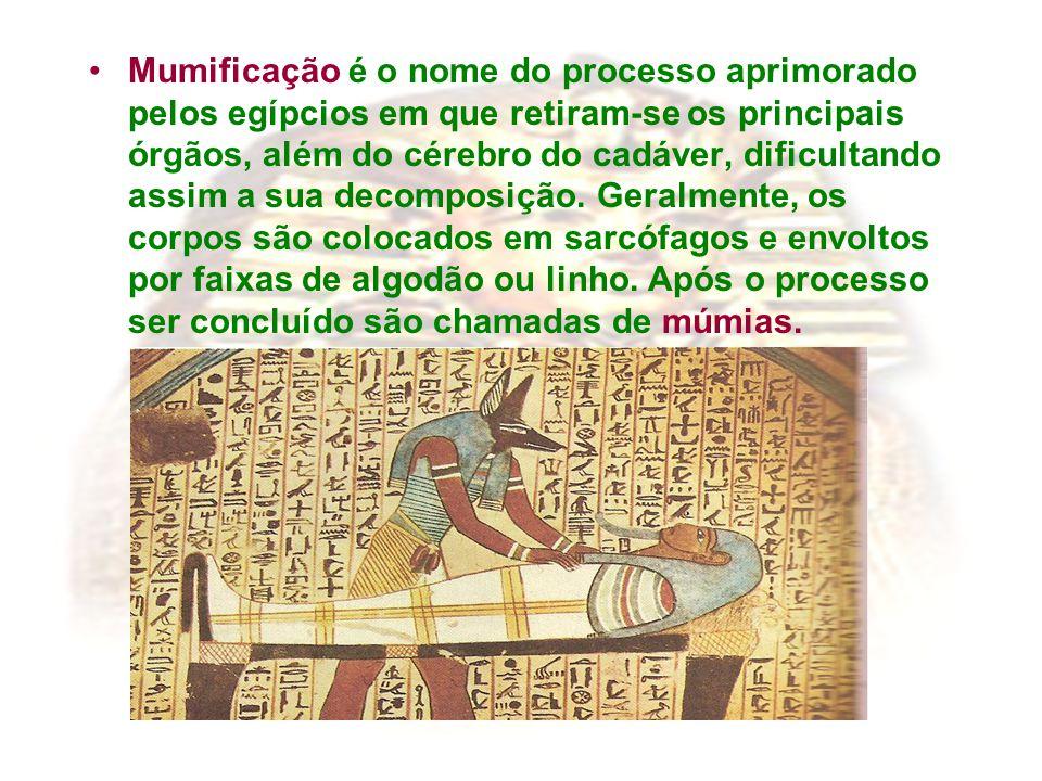 Mumificação é o nome do processo aprimorado pelos egípcios em que retiram-se os principais órgãos, além do cérebro do cadáver, dificultando assim a sua decomposição.