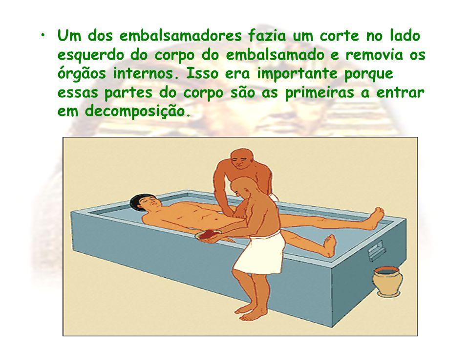Um dos embalsamadores fazia um corte no lado esquerdo do corpo do embalsamado e removia os órgãos internos.