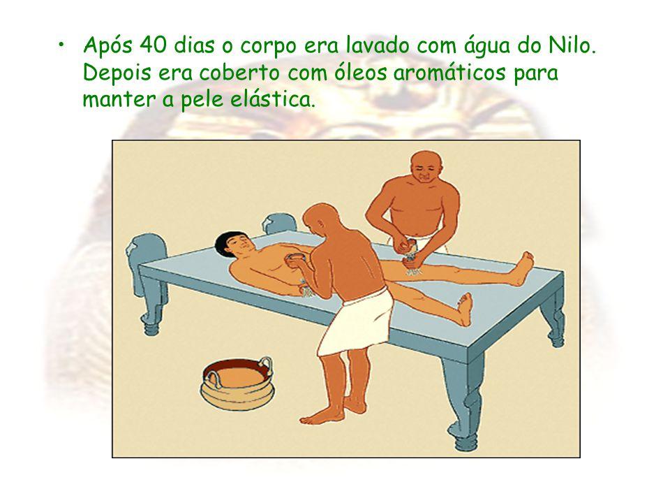 Após 40 dias o corpo era lavado com água do Nilo