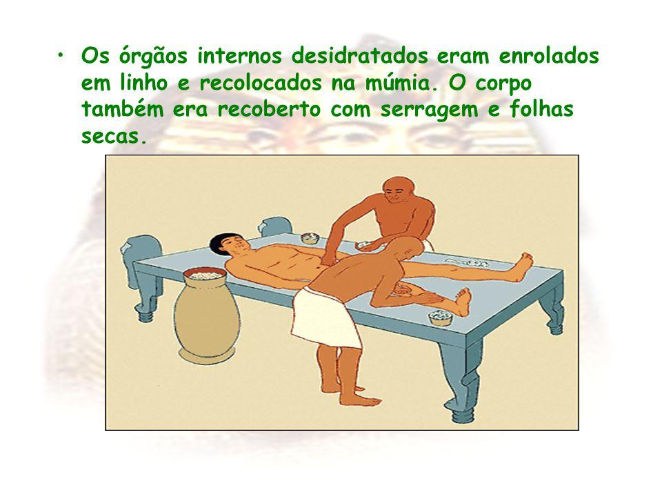Os órgãos internos desidratados eram enrolados em linho e recolocados na múmia.
