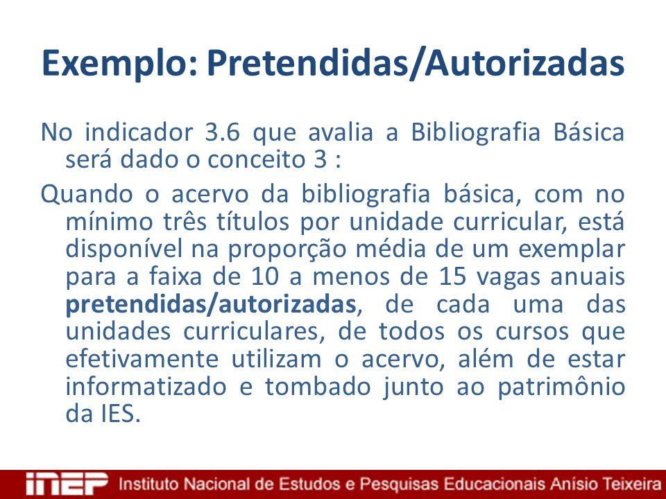 Exemplo: Pretendidas/Autorizadas