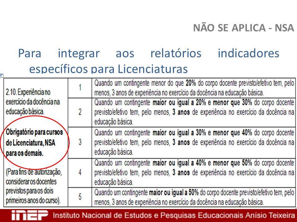 NÃO SE APLICA - NSA Para integrar aos relatórios indicadores específicos para Licenciaturas