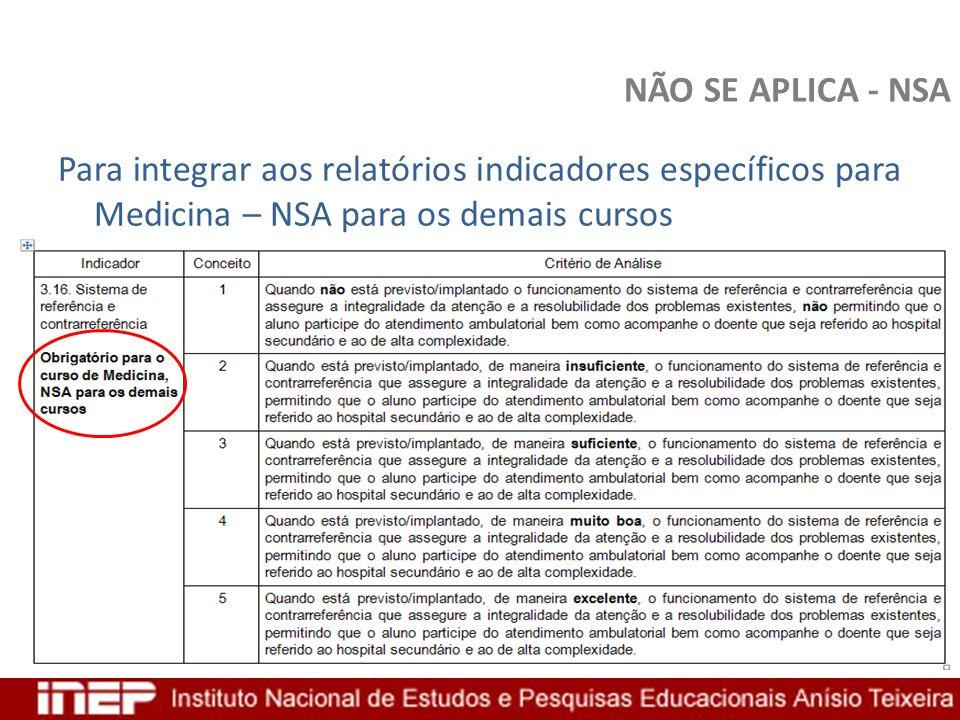 NÃO SE APLICA - NSA Para integrar aos relatórios indicadores específicos para Medicina – NSA para os demais cursos.