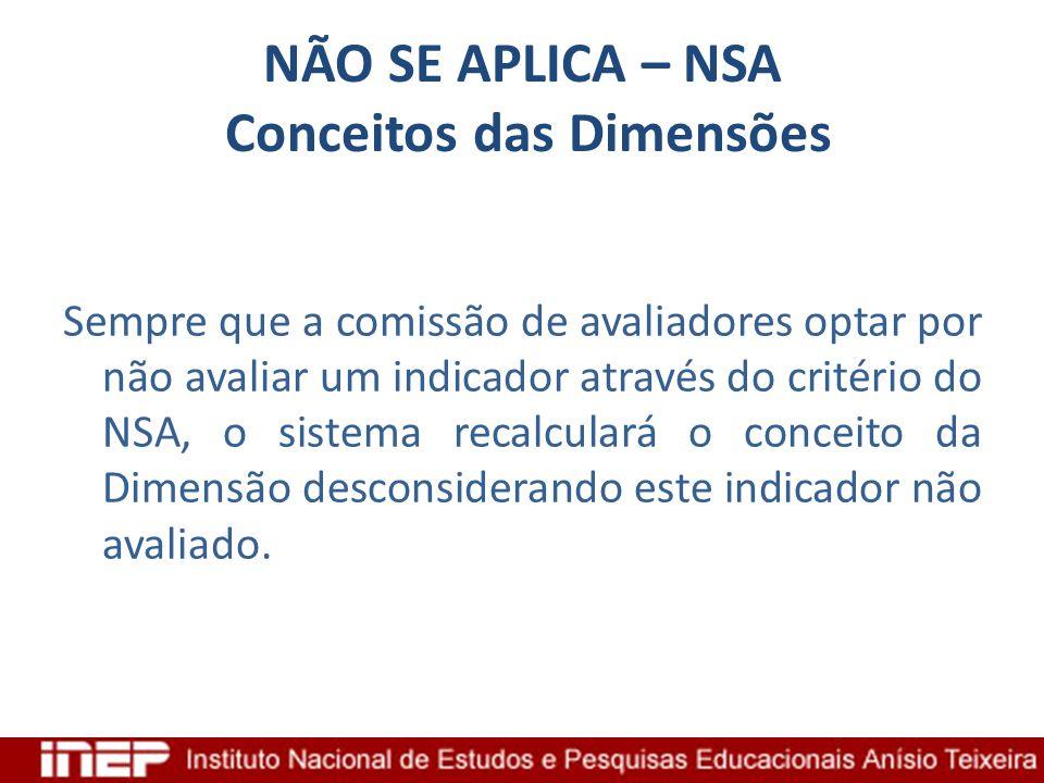 NÃO SE APLICA – NSA Conceitos das Dimensões