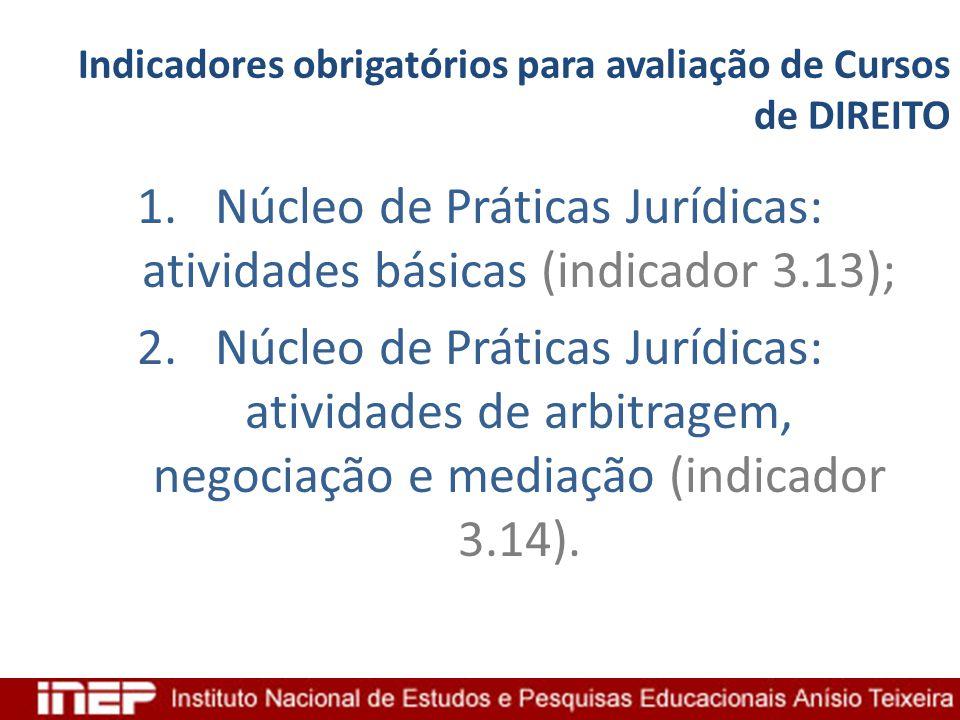 Indicadores obrigatórios para avaliação de Cursos de DIREITO