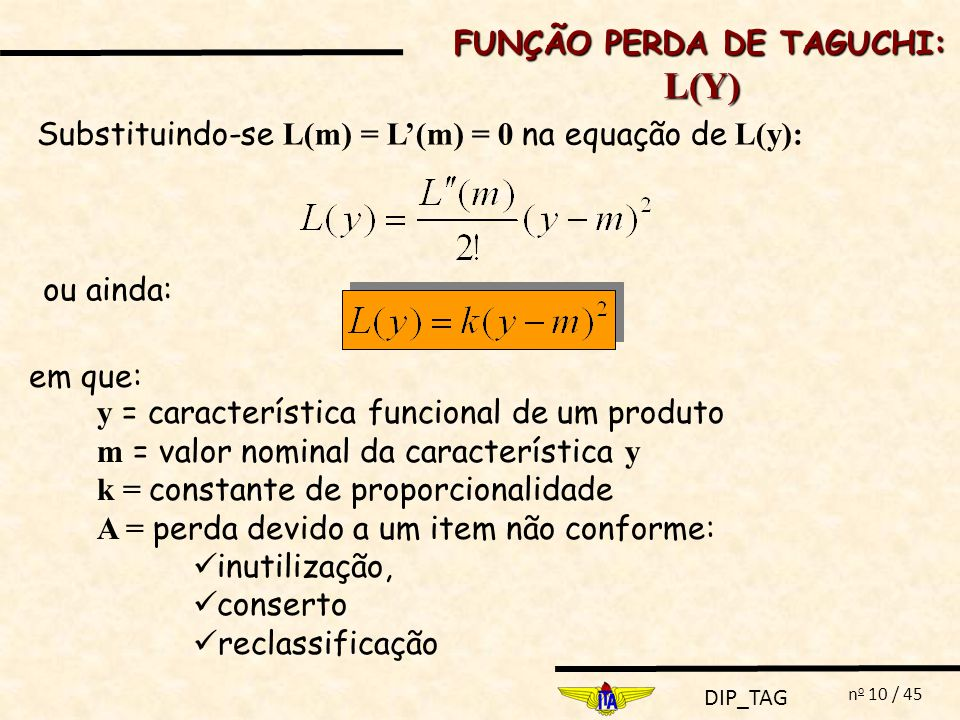 L(Y) FUNÇÃO PERDA DE TAGUCHI: