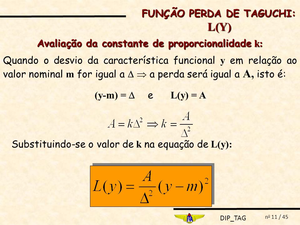 Avaliação da constante de proporcionalidade k:
