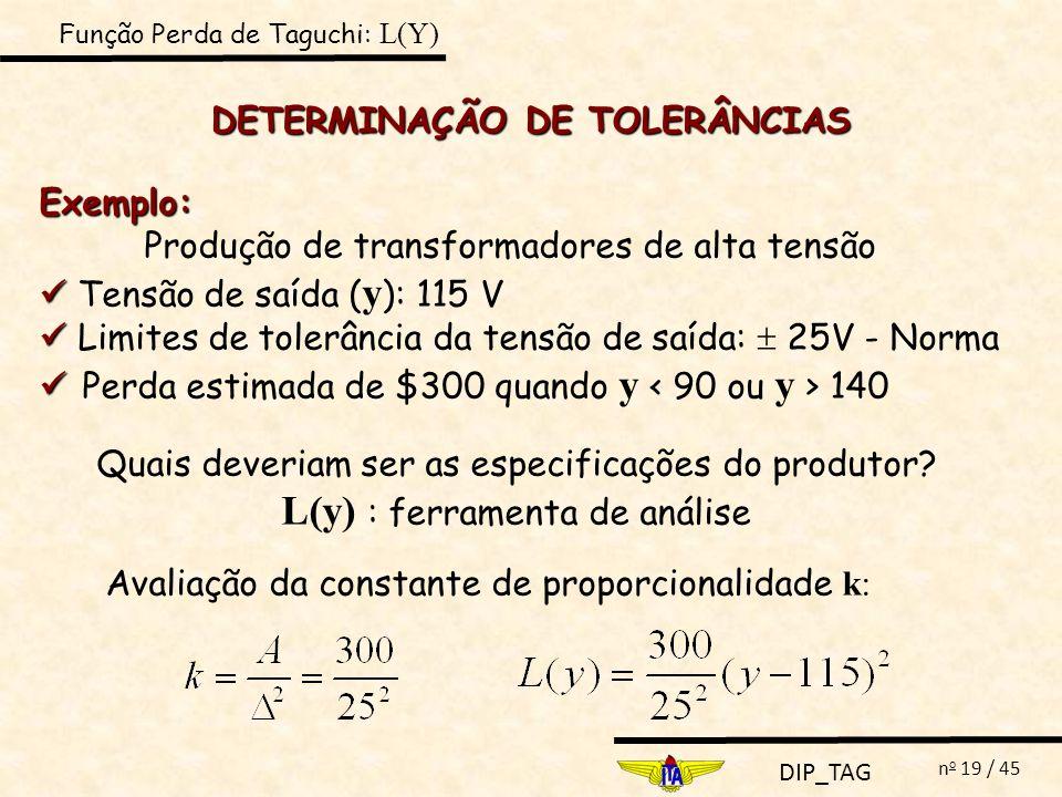 DETERMINAÇÃO DE TOLERÂNCIAS