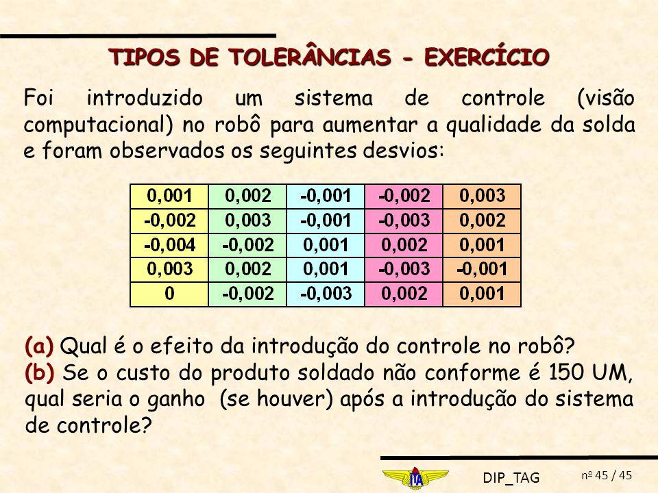 TIPOS DE TOLERÂNCIAS - EXERCÍCIO