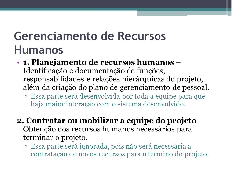 Gerenciamento de Recursos Humanos