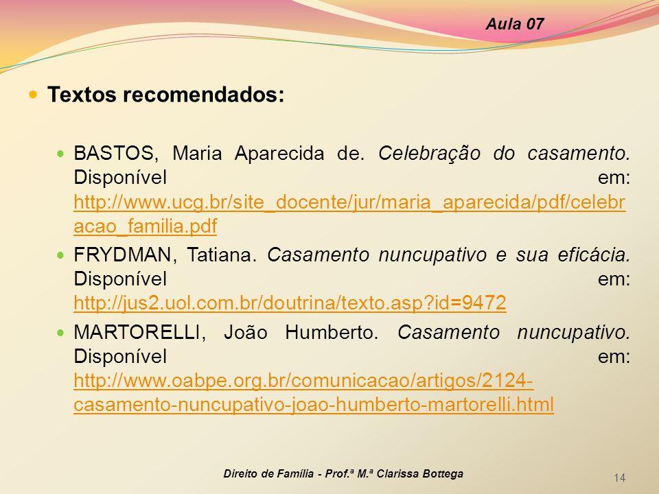 Aula 07 Textos recomendados: