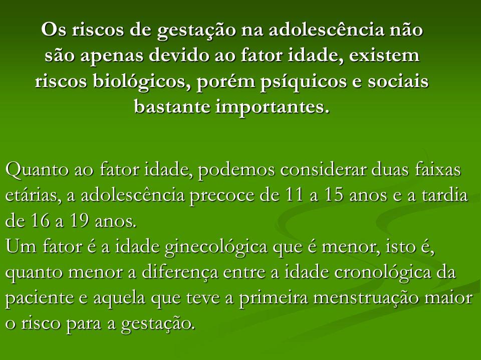 Os riscos de gestação na adolescência não são apenas devido ao fator idade, existem riscos biológicos, porém psíquicos e sociais bastante importantes.