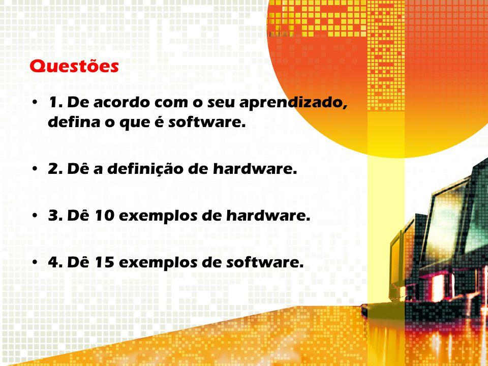 Questões 1. De acordo com o seu aprendizado, defina o que é software.