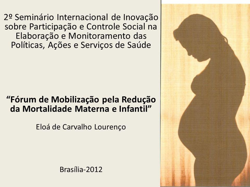 2º Seminário Internacional de Inovação sobre Participação e Controle Social na Elaboração e Monitoramento das Políticas, Ações e Serviços de Saúde Fórum de Mobilização pela Redução da Mortalidade Materna e Infantil Eloá de Carvalho Lourenço Brasília-2012