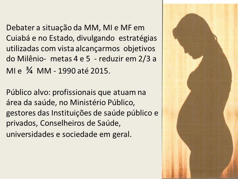 Debater a situação da MM, MI e MF em Cuiabá e no Estado, divulgando estratégias utilizadas com vista alcançarmos objetivos do Milênio- metas 4 e 5 - reduzir em 2/3 a MI e ¾ MM - 1990 até 2015.