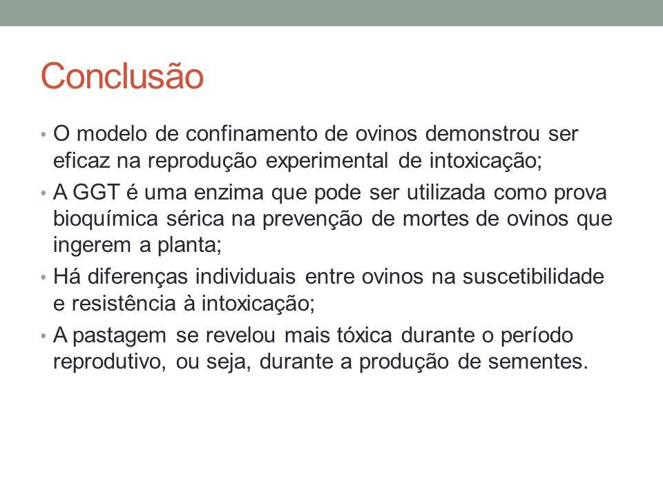 Conclusão O modelo de confinamento de ovinos demonstrou ser eficaz na reprodução experimental de intoxicação;